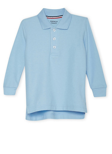 Boys 2T-4T Long Sleeve Pique Polo School Uniform,BABY BLUE,large