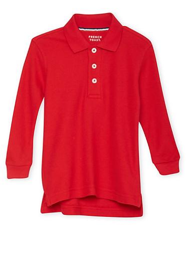Boys 2T-4T Long Sleeve Pique Polo School Uniform,RED,large