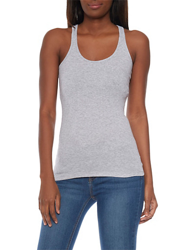 Solid Ribbed Tank Top,HEATHER,large