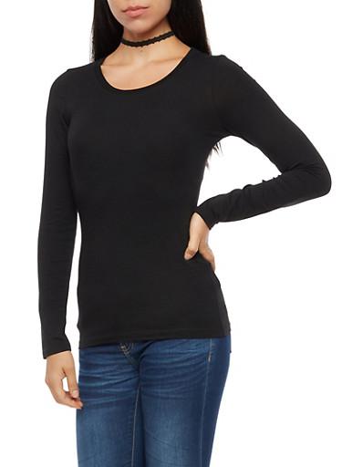 Long Sleeve Scoop Neck Top,BLACK,large