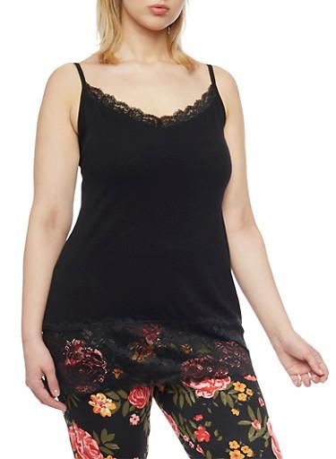 Plus Size Lace Trim Cami,BLACK,large