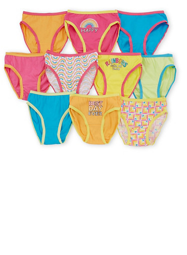 Girls 4T-6X 10 Pack of Assorted Panties,MULTI COLOR,large