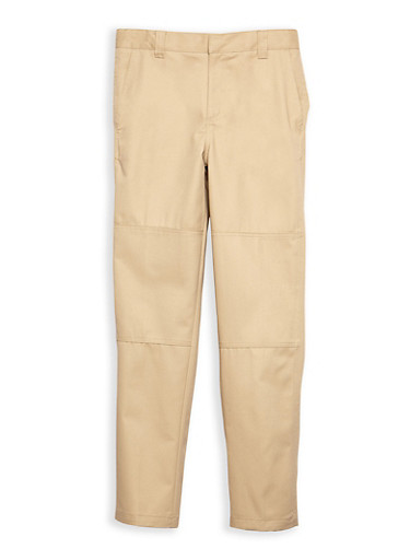 Boys 4-7 Adjustable Waist Straight Leg Twill School Uniform Pants,KHAKI,large