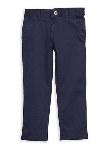 Boys 4-7 Adjustable Waist Straight Leg Twill School Uniform Pants,NAVY,large
