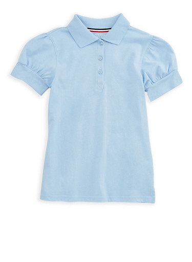 Girls 7-16 Rhinestone Short Sleeve Polo Shirt School Uniform | Tuggl