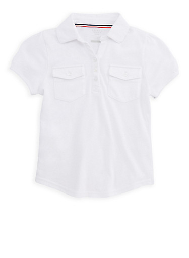 Girls 7-16 Double Pocket Polo Shirt School Uniform,WHITE,large