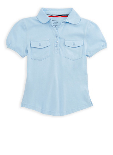 Girls 7-16 Double Pocket Polo Shirt School Uniform,BABY BLUE,large