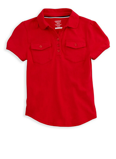 Girls 7-14 Short Sleeve Double Pocket Polo Shirt School Uniform,RED,large