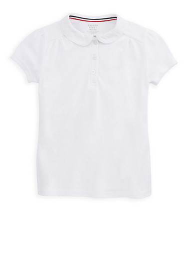 Girls 7-16 Short Sleeve Polo Shirt School Uniform,WHITE,large