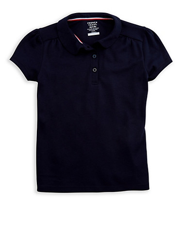 Girls 7-16 Short Sleeve Polo Shirt School Uniform,NAVY,large