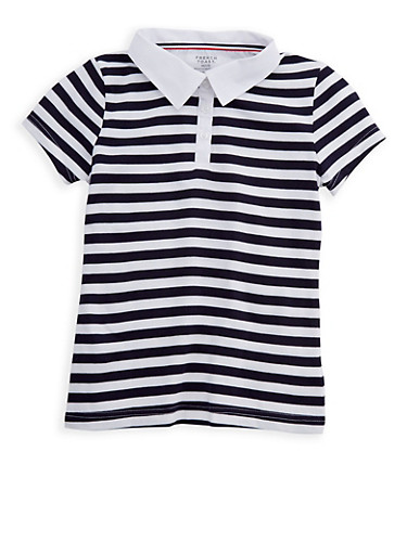 Girls 7-14 Short Sleeve Striped Polo Shirt School Uniform,NAVY,large
