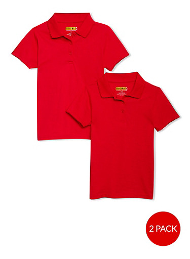 Girls 4-6x Short Sleeve Polo - 2 Pack - School Uniform,RED,large