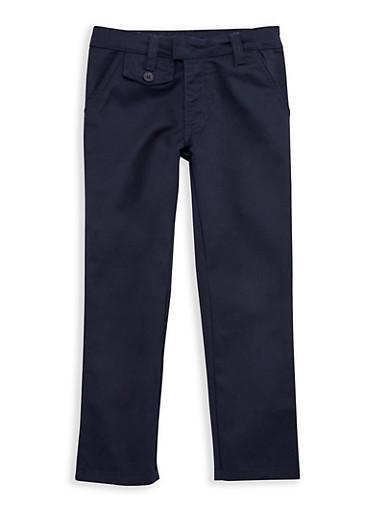 Girls 4-6x Adjustable Waist School Uniform Pants,NAVY,large