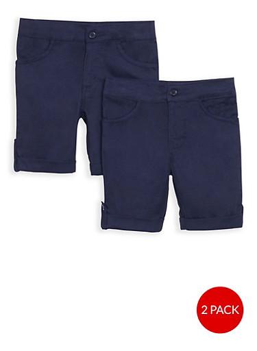 Girls 4-6X Adjustable Waist Shorts -2 Pack-  School Uniform,NAVY,large