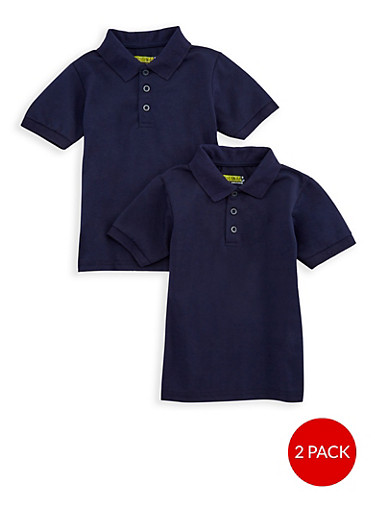 Boys 4-7 Short Sleeve Pique Polo - 2 Pack - School Uniform,NAVY,large