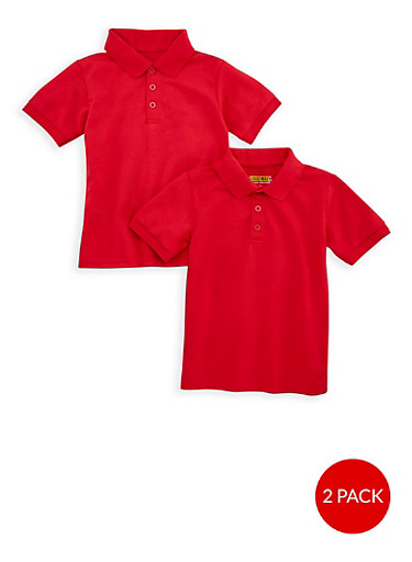 Boys 4-7 Short Sleeve Pique Polo - 2 Pack -School Uniform,RED,large