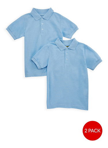 Boys 8-14 Short Sleeve Pique Polo - 2 Pack - School Uniform,BABY BLUE,large
