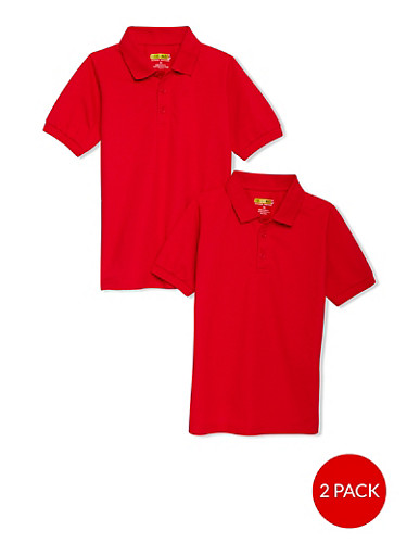 Boys 8-14 Short Sleeve Pique Polo - 2 Pack - School Uniform | 6938060990003,RED,large