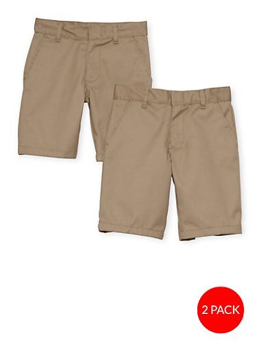 Boys 8-14  Adjustable Waist Shorts - 2 Pack - School Uniform,KHAKI,large