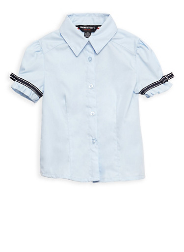 Girls 2T- 4T Short Sleeve Blouse with Ribbon Bow Detail School Uniform,BABY BLUE,large