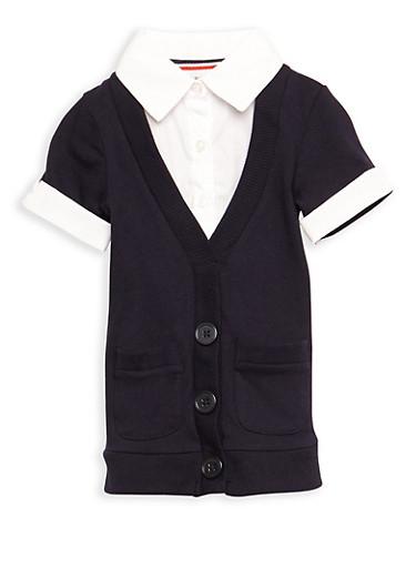 Girls 2T-4T Short Sleeve Cardigan Blouse School Uniform,NAVY,large