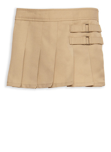 Girls 2T-4T Two Tab Scooter Skirt School Uniform,KHAKI,large