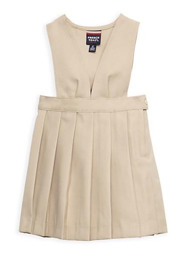 Girls 2T-4T V Neck Pleated Jumper School Uniform,KHAKI,large