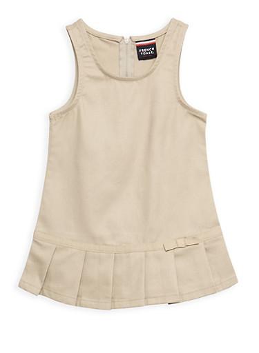 Girls 2T- 4T Pleated Hem Jumper School Uniform,KHAKI,large