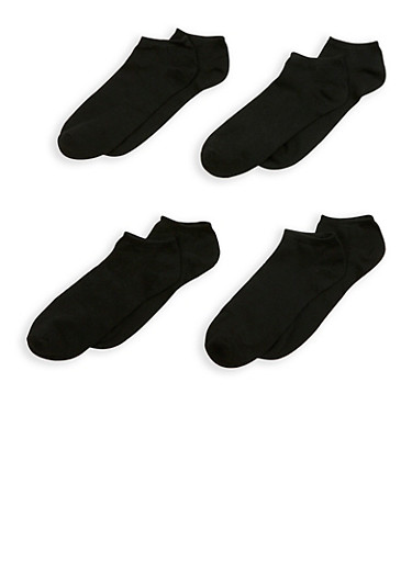 Set of 4 Black Ankle Socks,BLACK,large