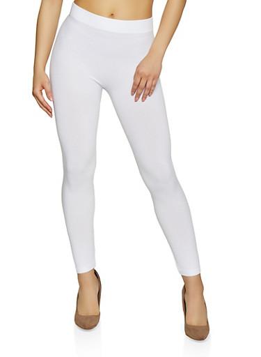 Seamless Solid Leggings | 7067041450020,WHITE,large