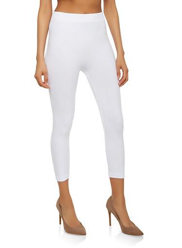Basic Cropped Leggings,WHITE,large