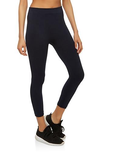 Basic Cropped Leggings,NAVY,large