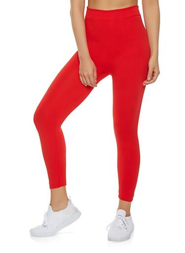 Basic Solid Leggings,RED,large
