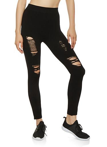 Ripped Leggings,BLACK,large