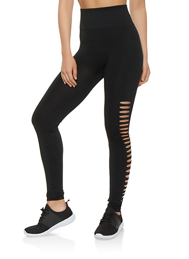 Laser Cut Side Leggings,BLACK,large