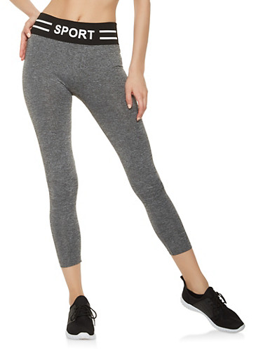 Sport Graphic Knit Waist Cropped Leggings,HEATHER,large
