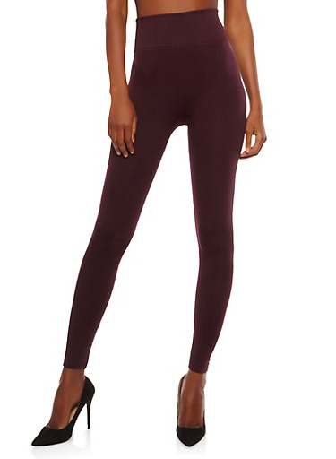 Solid Leggings with Waffle Knit Band,PLUM,large