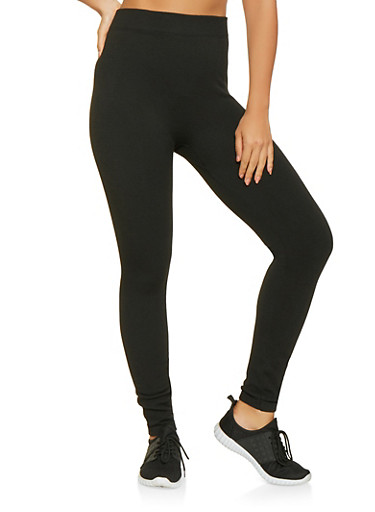 Solid Knit Leggings,BLACK,large