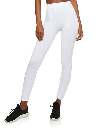 Solid White Leggings,WHITE,large