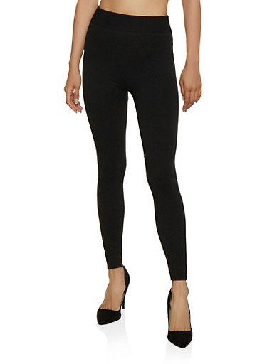 French Terry Lined Leggings   7069041453120,BLACK,large