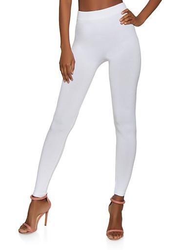 Solid Spandex Leggings,WHITE,large