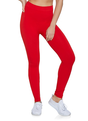 Solid Leggings | 7069041453241,RED,large