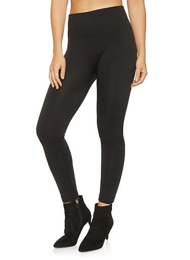 Solid Fleece Lined Leggings,BLACK,large