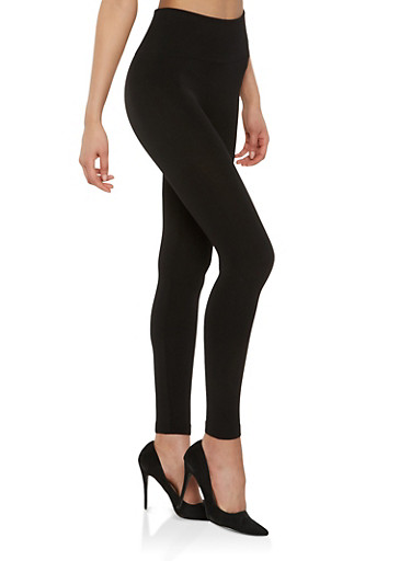 Popcorn Knit Waist Leggings,BLACK,large