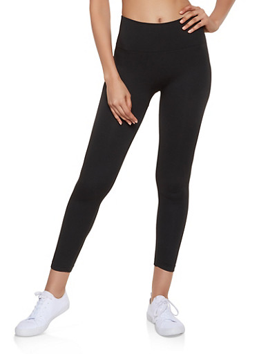 French Terry Waffle Waist Leggings,BLACK,large