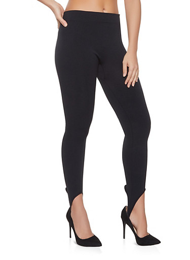 Fleece Lined Stirrup Leggings | 7069041458881,BLACK,large