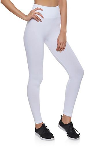 Popcorn Waist Leggings | White,WHITE,large
