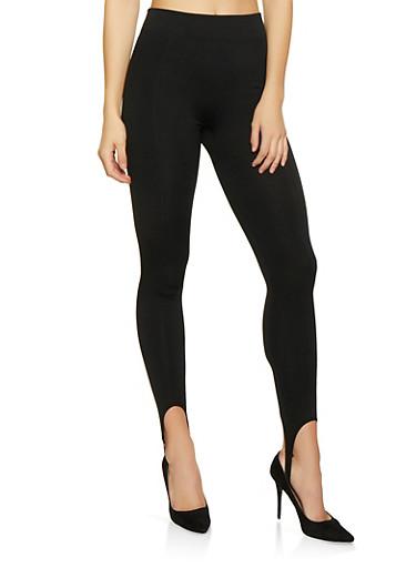 Fleece Lined Stirrup Leggings,BLACK,large