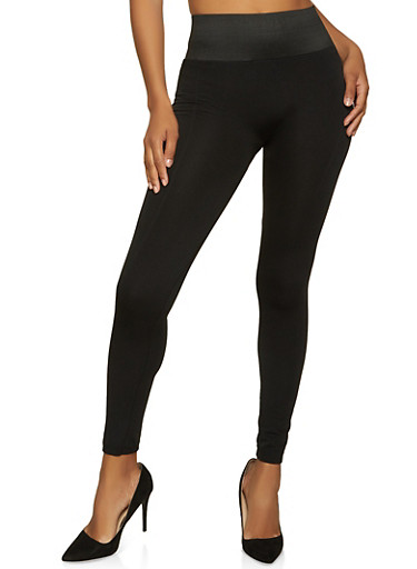 Pintuck Fleece Lined Leggings,BLACK,large