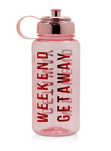 Weekend Getaway Water Bottle,PINK,large